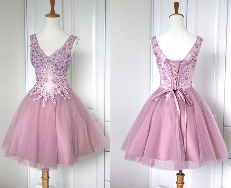 Bd07021 Charming Homecoming Dress,A-Line Homecoming Dress,Organza Homecoming Dress,V-Neck Short Prom Dress