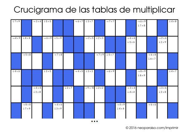 Crucigramas de las Tablas de Multiplicar