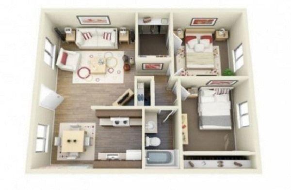Download Desain Interior Rumah Minimalis  inspirasi denah rumah minimalis 2 kamar yang nyaman rumah