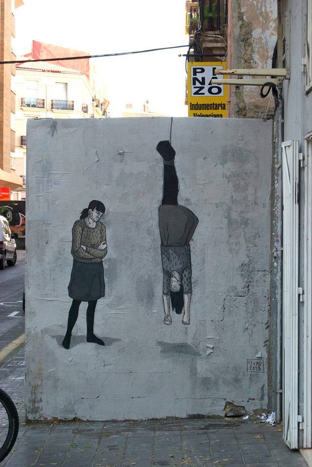 Valencia, Spain, 2013.  Hyuro  #Hyuro #streetart #urbanart #graffitiart #wallmural #art