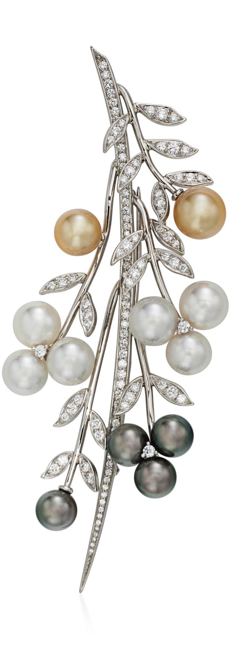 {TIFFANY & CO. CULTURED PEARL AND DIAMOND FOLIATE BROOCH, via Christie's Jewels Online} ❤️HT