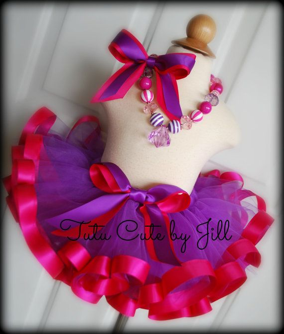 Sewn Purple Tutu with Hot Pink Satin Ribbon Trim. by Tutu Cute By Jill.   I love this color combo!
