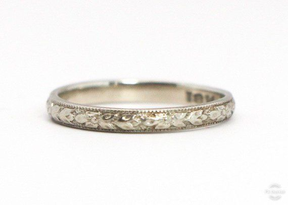 Art Deco Band Vintage 1920s Wedding Or Stacking Floral Repousse And Miligrain Design 18k White Gold Ring Werner Brothers Jewelry Art Deco Wedding Rings Antique Wedding Rings Art Deco Jewelry