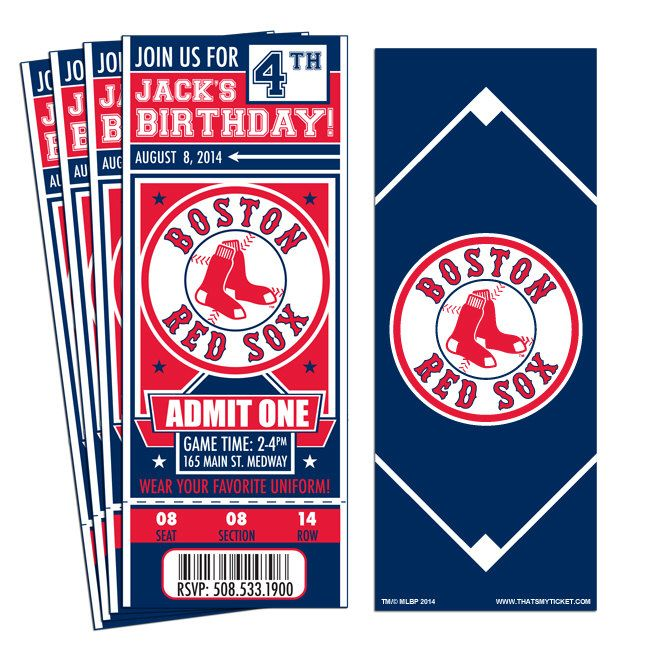 12 Boston Red Sox Birthday Party Ticket Invitations by ThatsMyTicket on Etsy https://www.etsy.com/listing/205672495/12-boston-red-sox-birthday-party-ticket