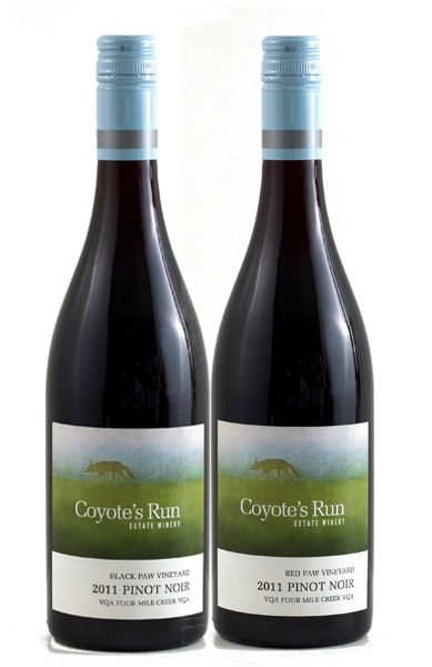 Coyote's Run Black Paw Vineyard and Red Paw Vineyard Pinot Noir.  A side-by-side tasting of these wines is an amazing educational experience for both novice and experienced wine drinkers.
