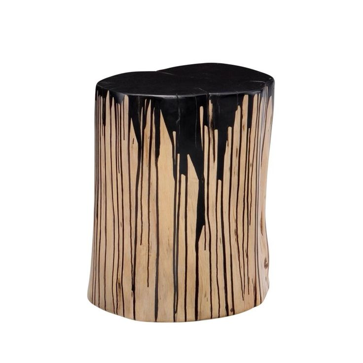 """Introducing the Stump stool by Moe's home collection. Features: Colors: Black Materials: Solid acacia wood Dimensions: 12""""W x 12""""D x 16""""H"""
