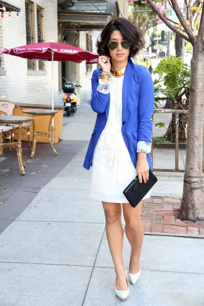 fringe: Long Dresses, Cobalt Blazers, Outfit Posts, Blazers White, Blue Blazers, Fringes Dresses, Blue Coats, White Dresses, Dresses Jackets