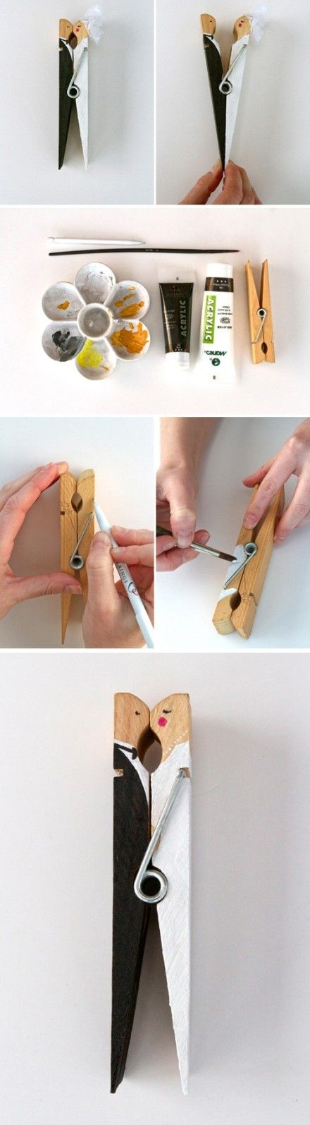 """Adorable """"couple"""" clothespin doll .... you could probably also do this to commemorate a senior prom ... easier to keep than old corsages!  :-)"""
