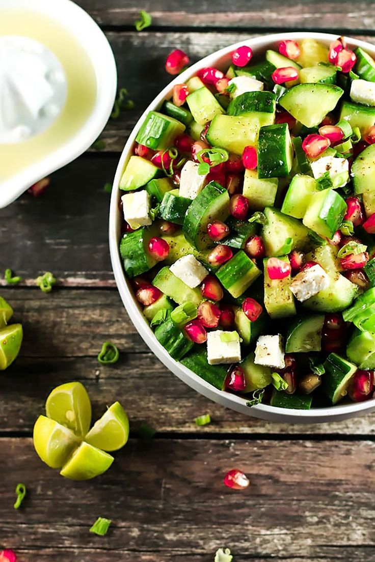 The combination of flavors in this recipe will have you addicted! The contrast between the pomegranate and feta cheese is beautiful with the cucumbers!