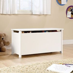 Sauder Beginnings Toy Chest, Soft White  -Maybe I would have to paint it, or put a decal on it. HUMM>>> Power Cat ? no,,Butterflies !!
