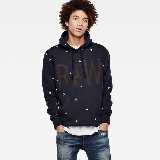 Just right for day and night, this patterned sweat comes complete with chunky contrast drawcords and a detailed cut-and-sew graphic.