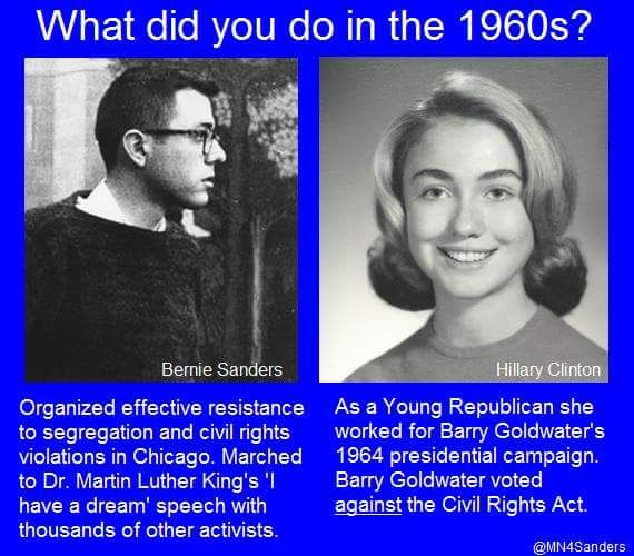 What did you do in the 1960s? | Bernie Sanders: Organized effective resistance to segregation & civil rights violations in Chicago. Marched to Dr. Martin Luther King's 'I have a dream' speech w/thousands of other activists. | Hillary Clinton: As a Young Republican, she worked for Barry Goldwater's 1964 presidential campaign. Barry Goldwater voted AGAINST the Civil Rights Act.