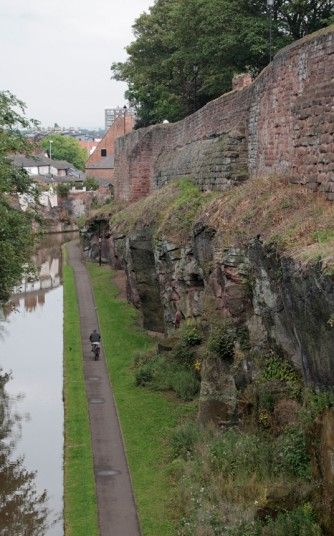 View from Upper Northgate Street along the Roman wall & looking down on the Shropshire Union Canal in Chester, Cheshire, UK.