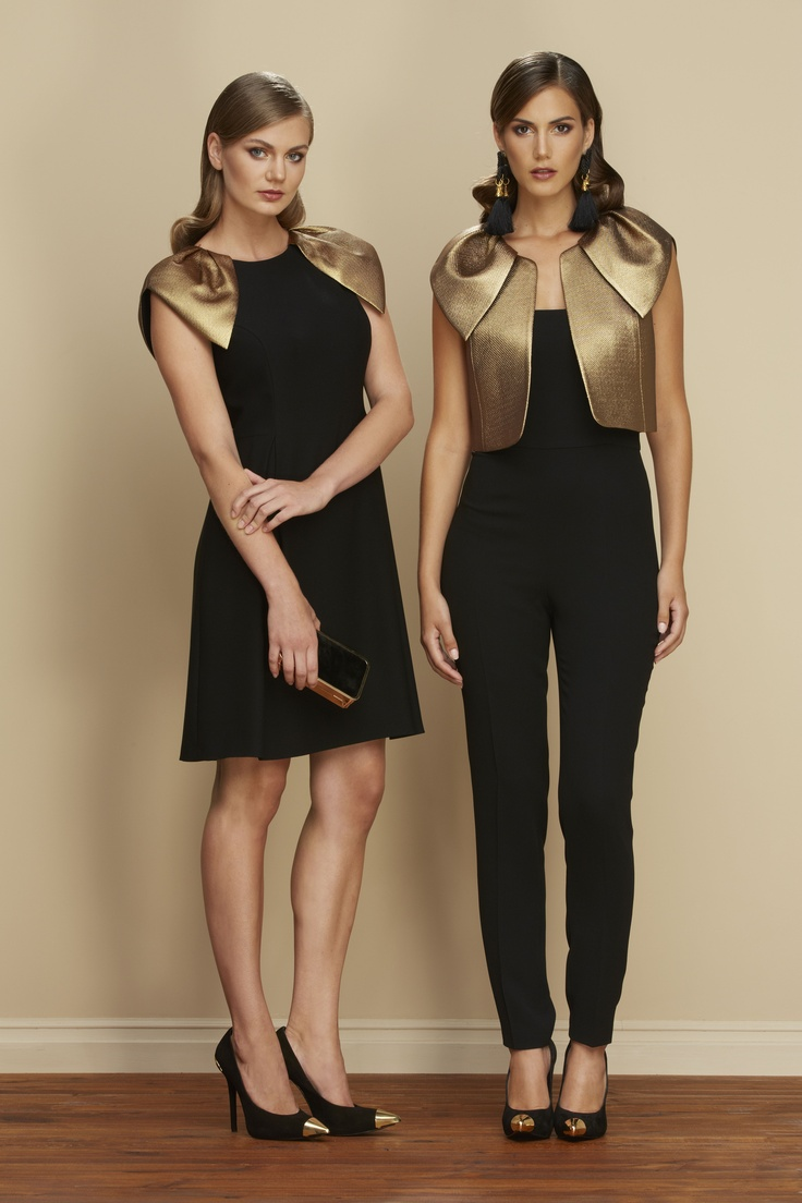#Romanlookbook #Blackandgold #Bolero #Dress #Jumpsuit #Captoeshoes #Elegance #Fashion