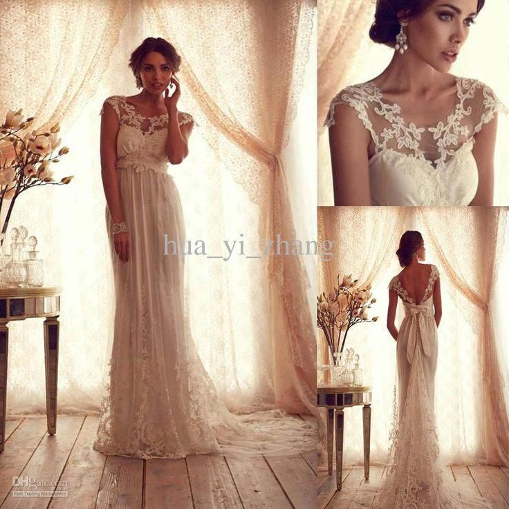 Wholesale Wedding Dress - Buy 2013 Vintage Lace Tulle Wedding Dress Sheer Crew Neckline Cap Sleeves Empire Backless Lace Appliqued Court Train Bridal Wedding Gowns Anna, $199.9 | DHgate