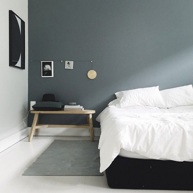 Bedding To Go With Grey Walls Part - 38: Relaxing Bedroom Simple And Modern Grey Accent Wall