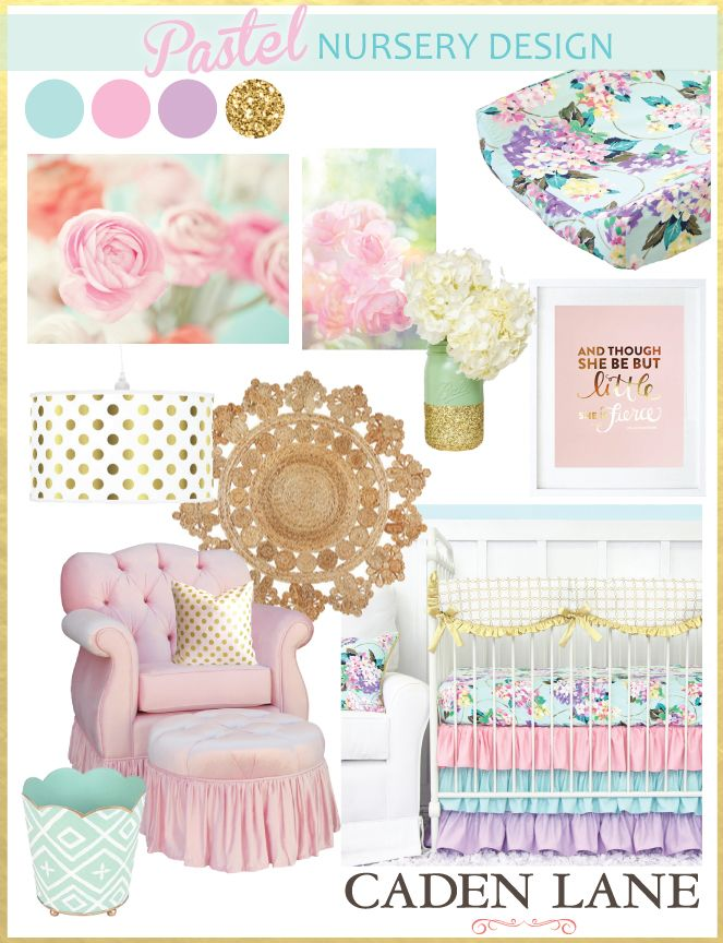 Pastel Nursery Design with Bright Pastel Baby Bedding is so sweet for a baby girls nursery. Caden Lane has the BEST pastel crib sets ever!