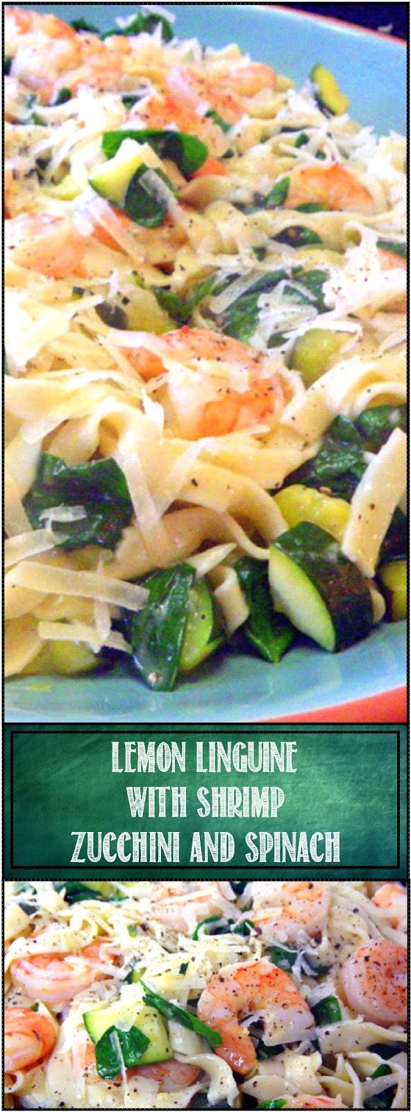 Lemon Linguine with Shrimp, Zucchini and Spinach Linguine con Gamberi verdure e olio al limone This became my wife's favorite pasta... The Lemon sauce compliments the pasta, flavors the shrimp, perfectly pairs with the zucchini and wilts the spinach to perfection! BEST PASTA EVER! And easy and DELICIOUS