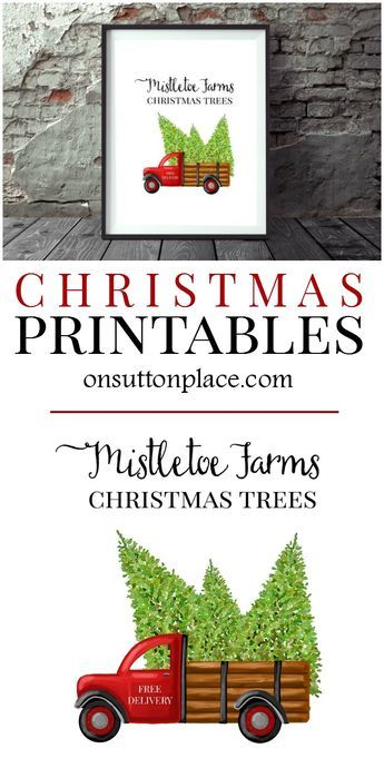 Use these free farmhouse Christmas printables for DIY wall art, cards, crafts, banners & more! Free digital download. #christmasdecor #christmas #PrintableArt #freeprintable