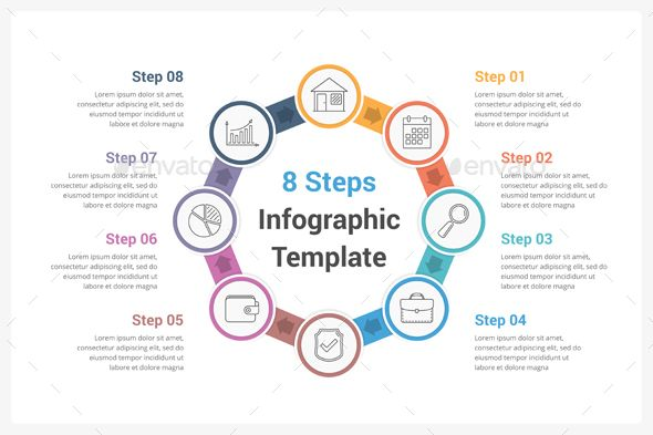 Circle Infographics with Eight Steps #flow #step  • Download here → https://graphicriver.net/item/circle-infographics-with-eight-steps/20817482?ref=pxcr