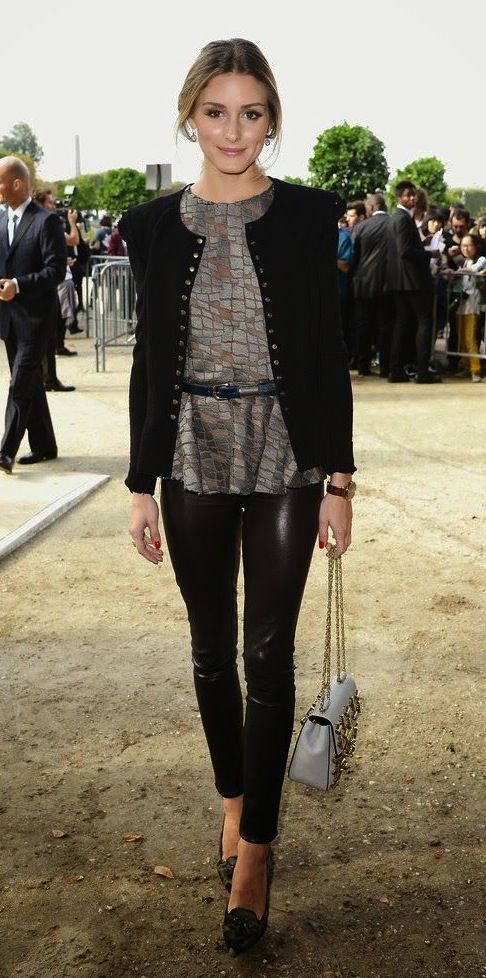 Ah the wonderful fashion icon Olivia Palermo... rocking the boucle jacket, belted peplum top, and leather pants, + smokey eye. so classy and edgy!