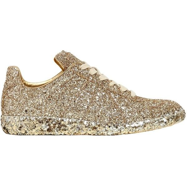 Maison Margiela Women 20mm Glittered Sneakers ($830) ❤ liked on Polyvore featuring shoes, sneakers, gold, glitter shoes, maison margiela, metallic shoes, lace up sneakers and rubber sole sneakers