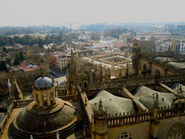The view from atop the Giralda looking over the Cathedral #Seville