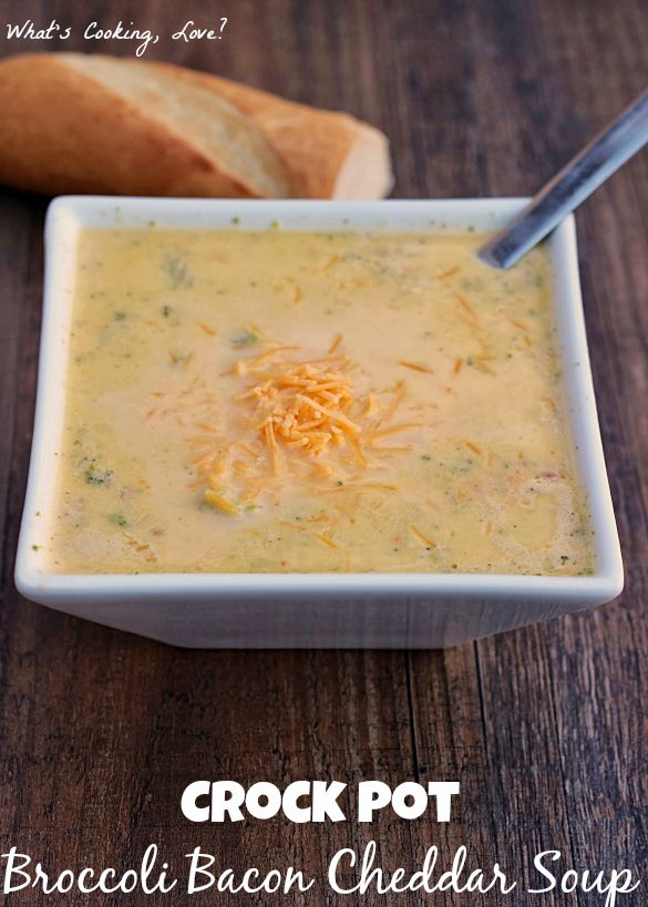Crock Pot Broccoli Bacon Cheddar Soup. An easy soup that is made in the crock pot or slow cooker. The soup adds the flavor of bacon to the traditional broccoli cheddar soup. #soup #crockpot #broccoli