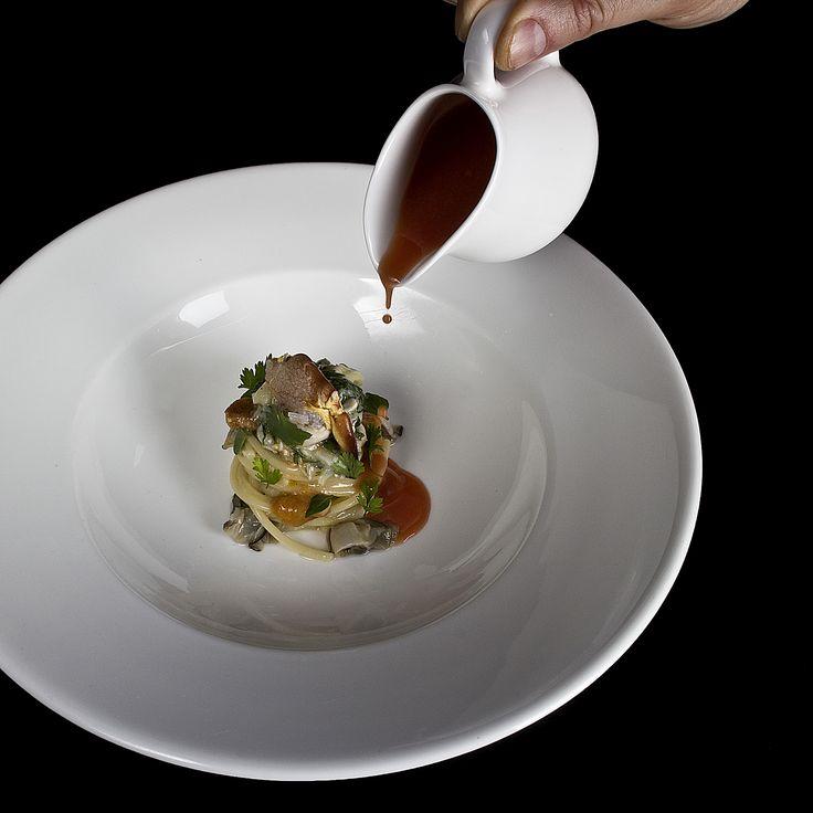Cold spaghetti with crab, sea urchins, oysters and cold tomato soup. #villafeltrinelli #grandhotel #stefanobaiocco #lakegarda #lakegardaitaly #starchef #restaurant #spaghetti #crab #seaurchins #oystars #tomatosoup
