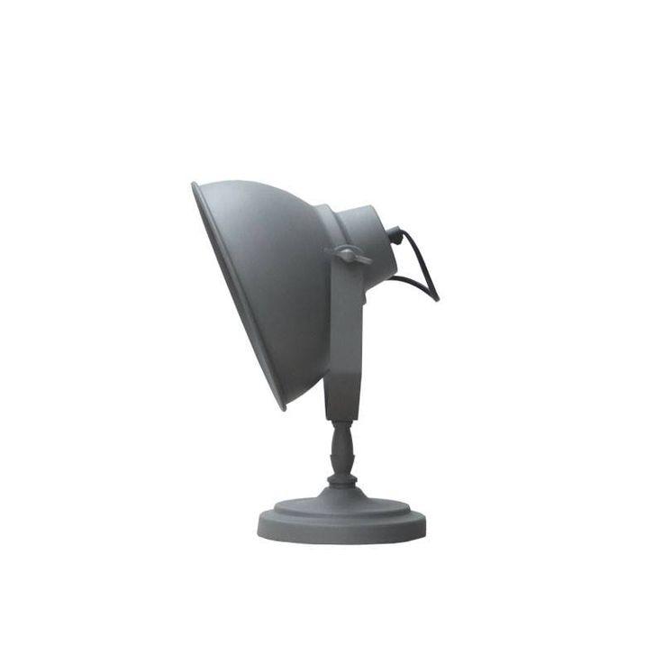LEF collections Tafellamp Urban grijs metaal hout Ø20cm