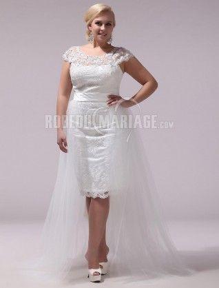 Robe de mariée grande taille traîne amovible col rond satin dentelle [#ROBE207896] - robedumariage.info