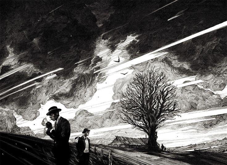 Черно-белые иллюстрации в стиле пинап и ретрофутуризм / Nicolas Delort / Выразительные иллюстрации, выполненные чернилами. По стилистике они тяготят к манере оформления комиксов, журналов и плакатов середины двадцатого столетия, что только придает им дополнительный шарм.