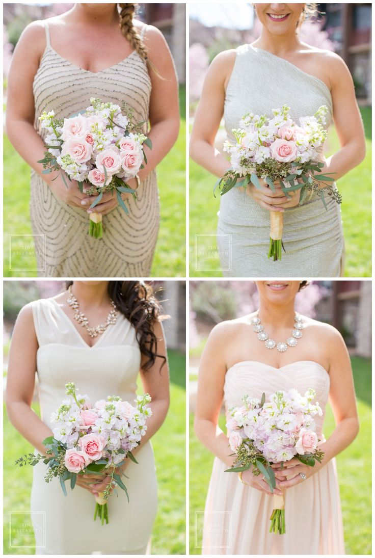 gold, pink & champagne bridesmaid dresses - spring wedding bouquets - Tina Elizabeth Photography