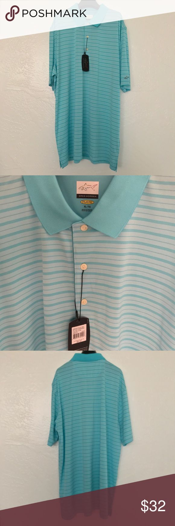 NWT Greg Norman Signature Series Golf Polo Shirt NWT Greg Norman Signature Series Striped Collared Light Blue and White Golf Polo Shirt Size XL MSRP $65  Reasonable offers accepted! 20% bundle discount! Smoke- & pet-free home Any questions? Just ask! Greg Norman Shirts Polos