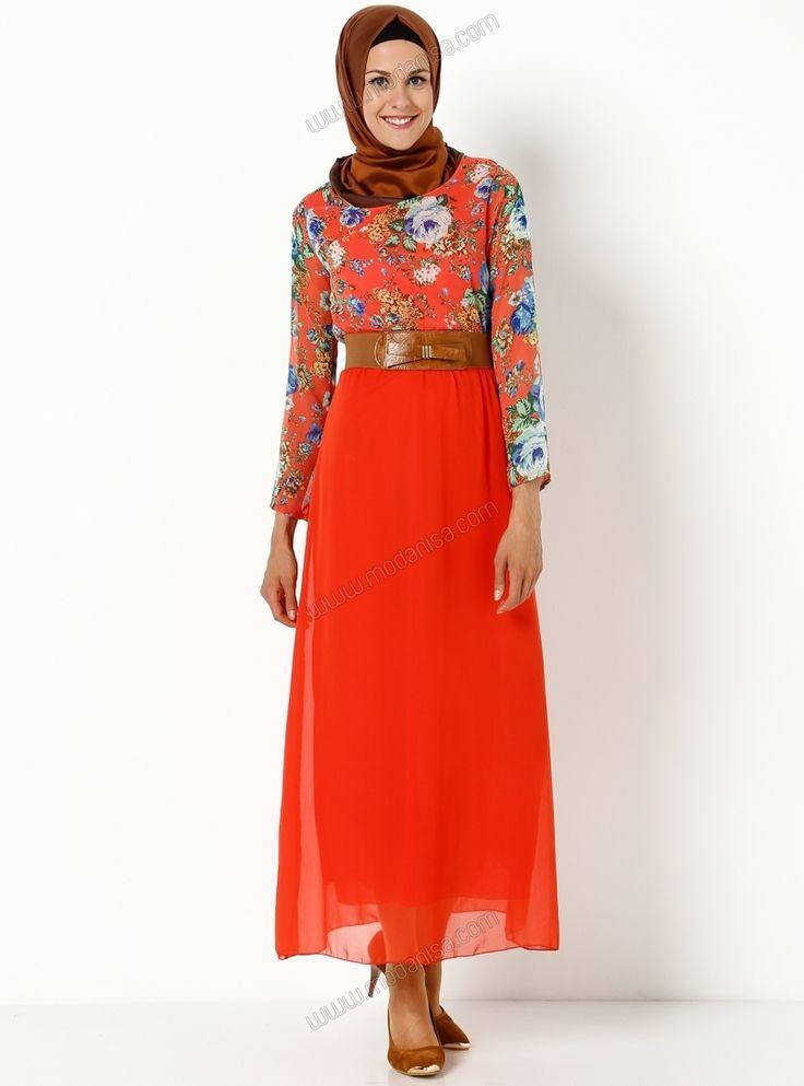 Fiyonk Kemer Detaylı Elbise - 2017 - Mercan - Eflatun