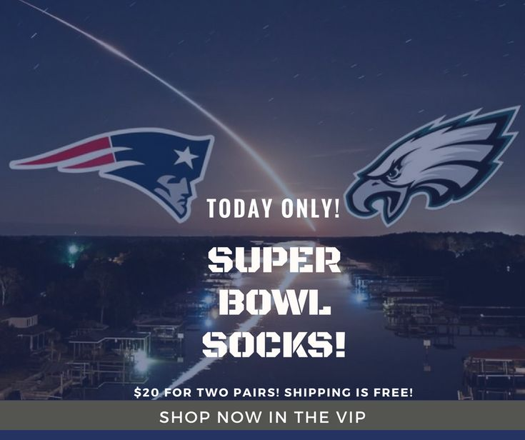 Super Bowl socks are available today only in our Finn and Grin VIP group on Facebook!