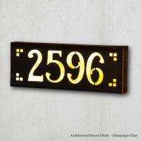 Illuminated House Numbers | American Made Brass Patina Medium Craftsman House Numbers