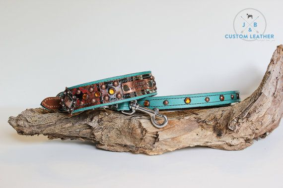 We love this custom Dog Collar from J&B Custom Leather! // Leather Dog Collar // Navajo and Rhinestones