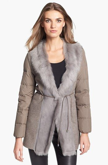 Fabiana Filippi Genuine Shearling Collar Puffer Coat | Nordstrom