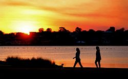 WAN-0000654 © WestPix Spring generic pictures Shelley Foreshore Canning River. Walkers on sunset. 16/09/14 Picture : Lincoln Baker/The West Australian.