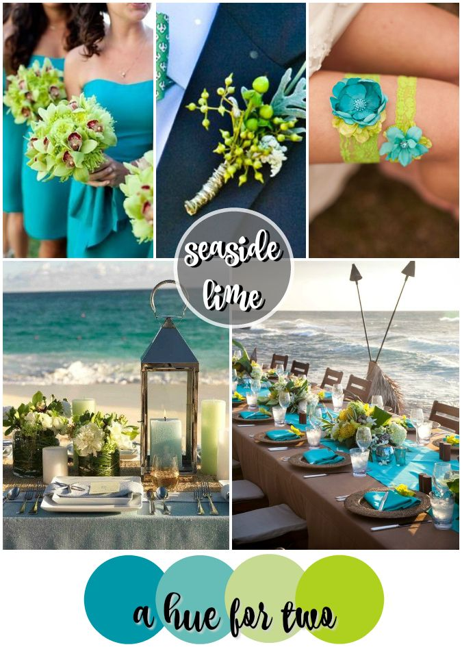 Seaside Lime: A beautiful combination of turquoise and chartreuse green for the tropical destination wedding of your dreams! Colour scheme by A Hue For Two | www.ahuefortwo.com