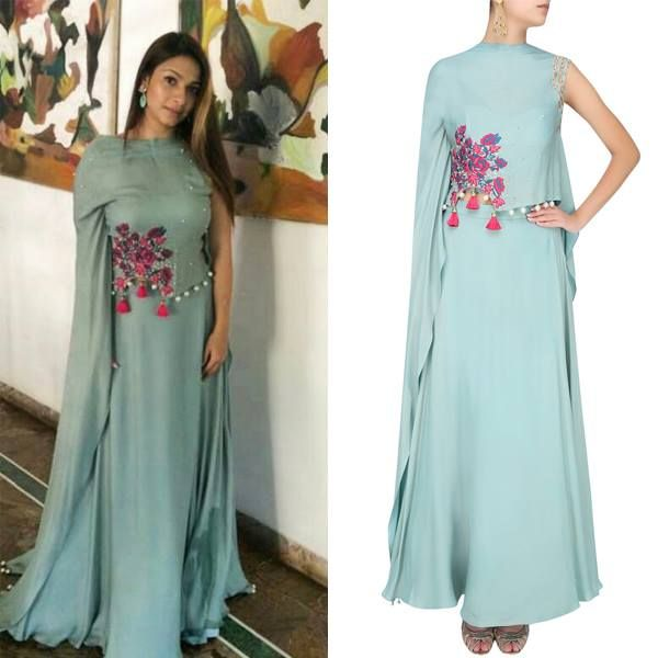 Tanisha Mukherjee in Frost Blue Rosette Motif Embroidered Cape With Matching Skirt by MonikaNidhii. #monikanidhii #tanishamukherjee #celebstyle #celebspotting #celebcloset #contemporarywear #indianfashion #indiandesigners #shopnow #perniaspopupshop #happyshopping