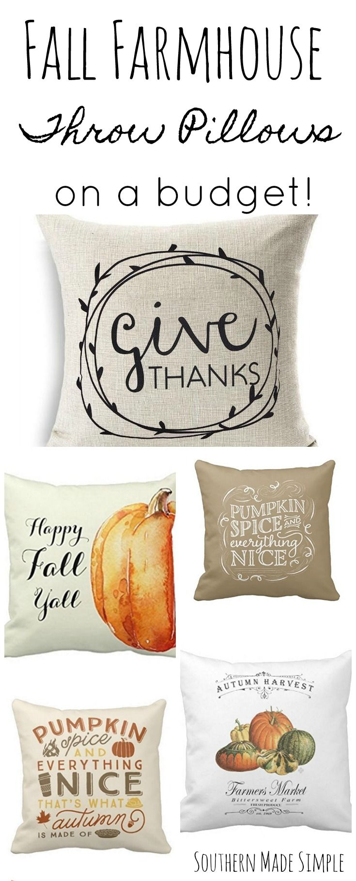 Fall Farmhouse Throw Pillows on a Budget