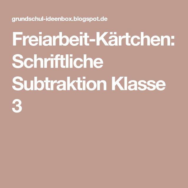 Freiarbeit-Kärtchen: Schriftliche Subtraktion Klasse 3