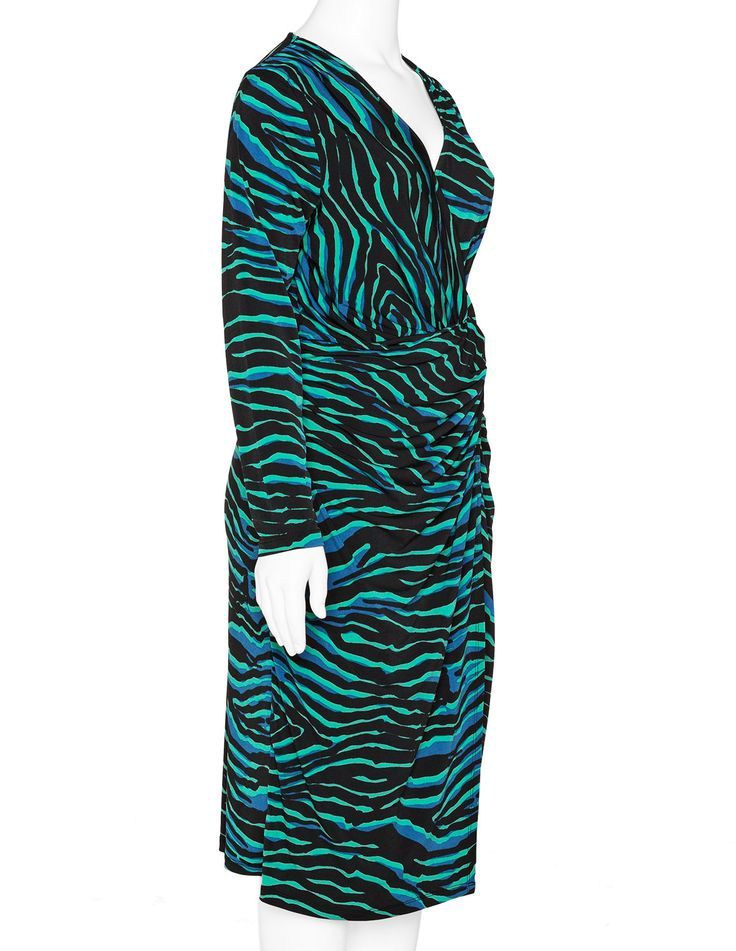 YOEK - Printed jersey wrap effect dress - navabi