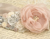 Bridal Sash - Sash in Blush Pink, Ivory, Champagne and Cream with Crystal Jewels, Ostrich Feathers and Handmade Flowers- Breath of Blush