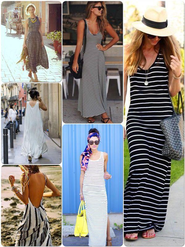 5 estilos de maxi vestido rayas