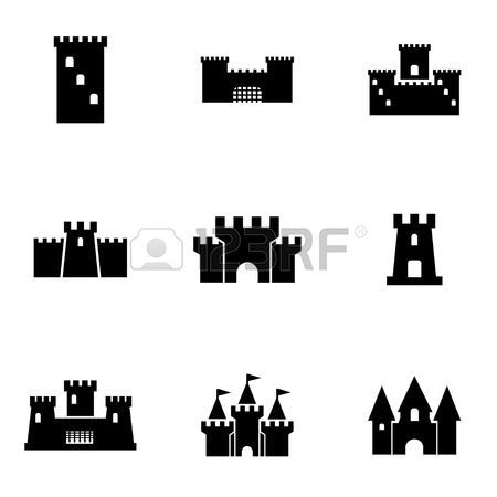 caballero medieval: Vector castillo negro conjunto de iconos. Castillo Icono Objeto, Castillo Icono Imagen, Castillo Icono Imagen, Castillo Icono Gráfico, Castillo Icono JPG, Castillo Icono EPS, AI Castillo Icon - Imagen vectorial Vectores