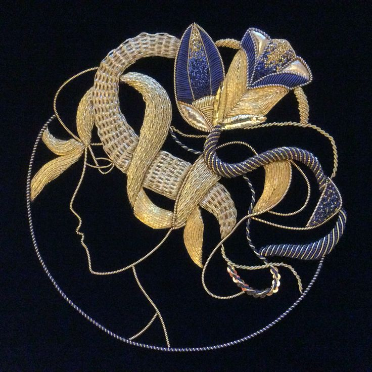 Art Deco style Goldwork at Royal School of Needlework