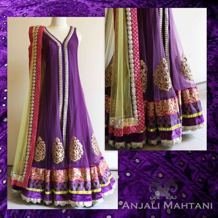 Tulle anarkali with multiple borders and embroidery
